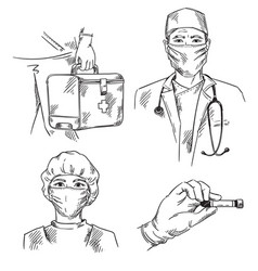 Set medicine themed icons doctor and nurse vector