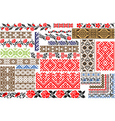set of 30 seamless ethnic patterns for embroidery vector image