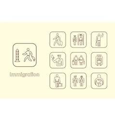 Set of immigration simple icons vector