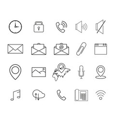 set of interface line icons vector image