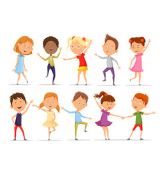 Set of isolated little boys and girls dancing vector