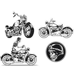 silhouette rider biker motorcycle engraving vector image