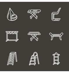 Simple line laundry furniture icons vector image