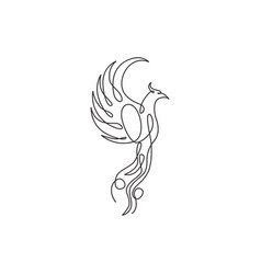 single continuous line drawing flame phoenix vector image