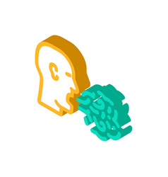Smell from mouth isometric icon vector