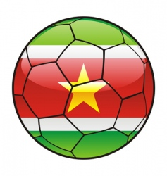 Suriname flag on soccer ball vector