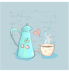 Tea time cute childish teapot and cup with heart vector