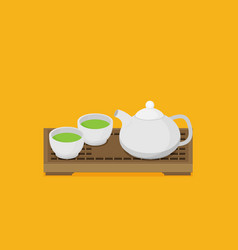 teapot and cups eps 10 vector image