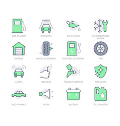 Transport car service simple line icons vector