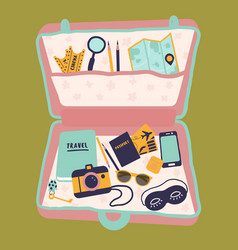 Travel case with passport camera diary buggage vector