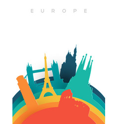 travel europe 3d paper cut world landmarks vector image