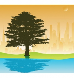tree and cityscape vector image