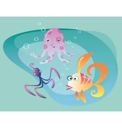 Underwater ocean life cuttlefish octopus and fish vector