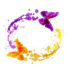 Watercolor circular frame with butterflies vector