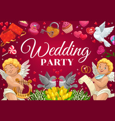 Wedding party invitation hearts and cupid angels vector