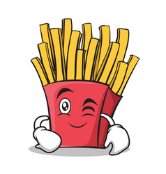 Wink face french fries cartoon character vector