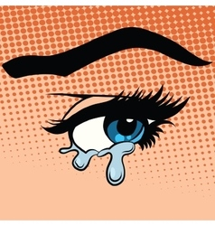 Woman eyes tears crying vector