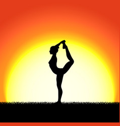 yoga dhanurasana pose black silhouette on sunset vector image vector image