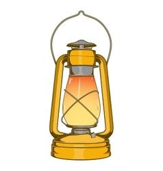 Antique Brass Old Kerosene Lamp vector image