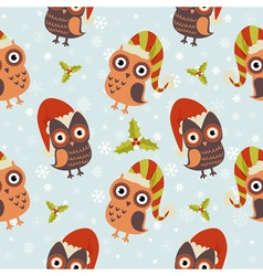 Cute Christmas owl with presents seamless pattern vector image vector image