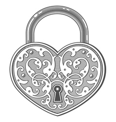 Heart shaped padlock in vintage engraved style vector image vector image