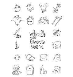 Hand drawn Farm icon set vector image