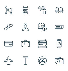 Set of 16 transportation icons includes armchair vector