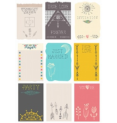 Hand drawn collection of floral cards vector image vector image