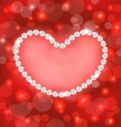 Lighten background with heart made in pearls for vector image vector image