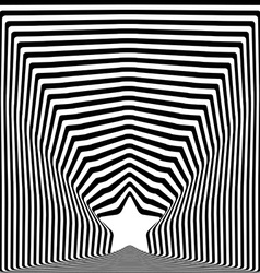 Star black stripes optical visual art effect vector image