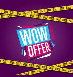 wow offer banner in modern style vector image vector image