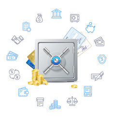 banking deposit concept with metal safe vector image