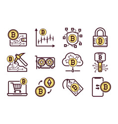 bitcoin mining icons set vector image vector image