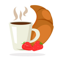 Breakfast coffee tea croissant strawberry vector