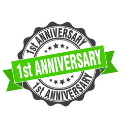 1st anniversary stamp sign seal vector image vector image