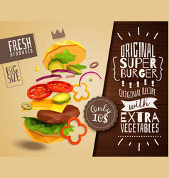 3d hamburger horizontal poster vector
