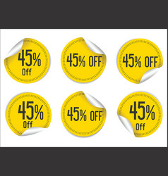 45 percent off yellow paper sale stickers vector image