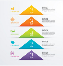 5 triangle timeline infographic options paper vector