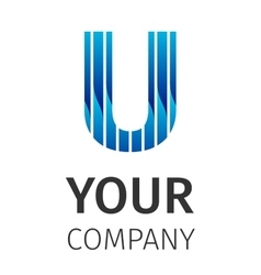 Abstract blue logo U vector image