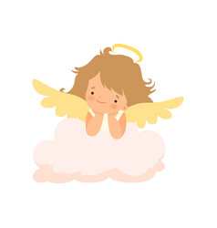 Adorable girl angel with nimbus and wings cute vector