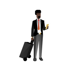 African bearded businessman with travel bag vector