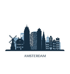 amsterdam skyline monochrome silhouette vector image
