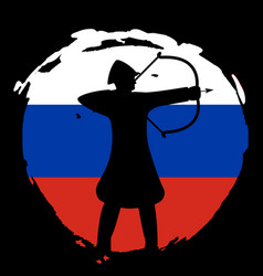 Archer warrior silhouette on russia flag and black vector