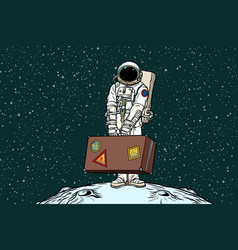 Astronaut traveler with travel suitcase vector