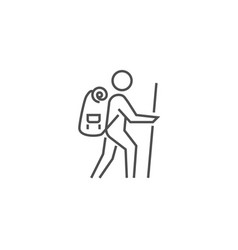 backpacker related line icon vector image