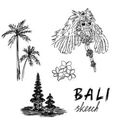 Bali sketch Temple Barong palms frangipani vector