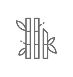 bamboo with leaves line icon vector image