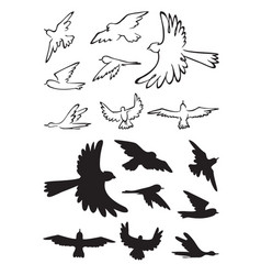 birds in flight silhouette vector image