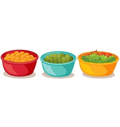 Bowls of food vector image