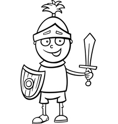 boy in knight costume coloring page vector image